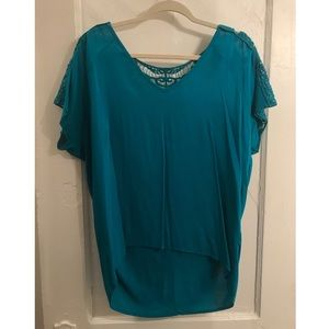 Miami Cyan High-Low Blouse with Crochet Detailing